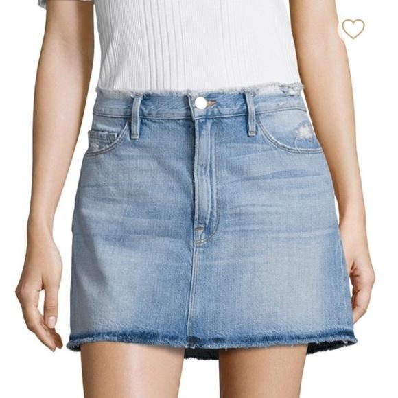 95a342374 Frame Denim Skirts | Frame Le Frayed Denim Mini Skirt | Poshmark